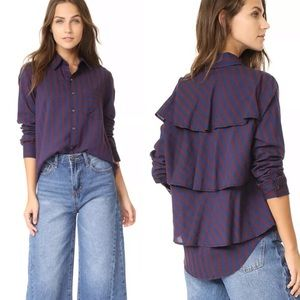 AMO Blue & Burgundy Stripe Ruffle Back Prep Shirt